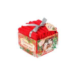 "Наб.полотенец в корзинке ""Счастливого Нового года"" 30х30 см-2 шт, 100% хл, 300гр/м2"