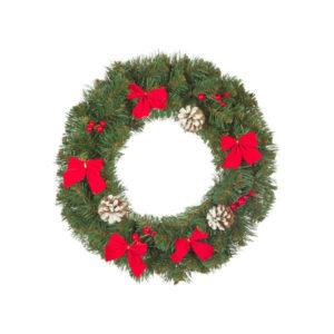 """Рождественский венок """"Нарядный"""" с декором 60 см., Кол-во веточек - 115 шт."""