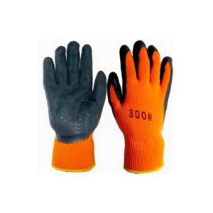 Перчатки обливные вспененные №300 (зимние) оранжевая основа-черный облив