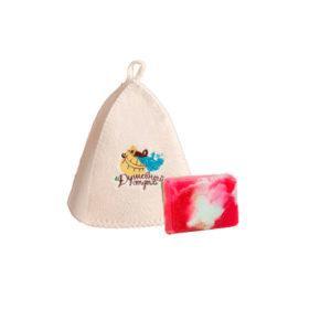 """Подарочный набор """"Добропаровъ"""",шапка """" Душевный отдых""""и мыло натуральное"""