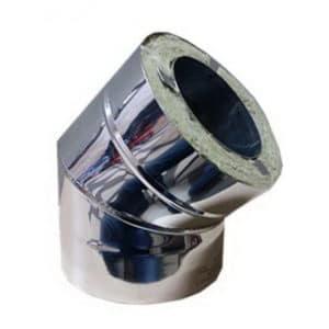 СЭНДВИЧ-колено Оц+Нерж (AISI 430/0,5мм) 45* 2 секции D120х200